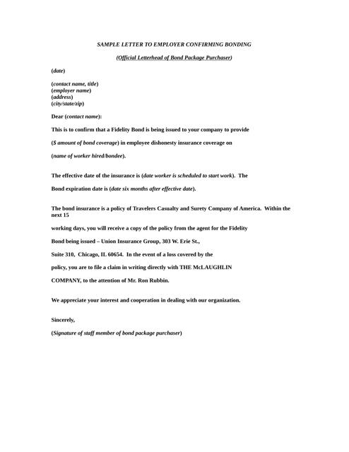 "Sample ""Letter to Employer Confirming Bonding - Fidelity Bond"" Download Pdf"