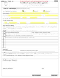 "Form MV-101 ""South Dakota Special License Plate Application"" - South Dakota"