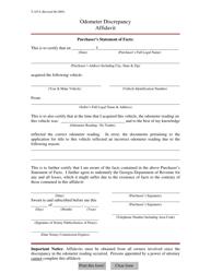 "Form T-107A ""Odometer Discrepancy Affidavit"" - Georgia (United States)"