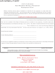 Form AR-nrmilitary Non-resident Military Personnel Exemption Form - Arkansas