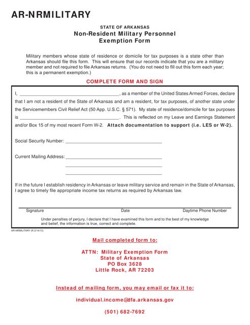 Form AR-nrmilitary Download Printable PDF, Non-resident