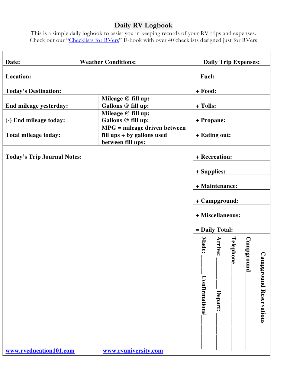 Daily Rv Logbook Template Download Printable Pdf Templateroller