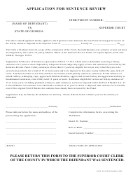 """Application for Sentence Review"" - Georgia (United States)"