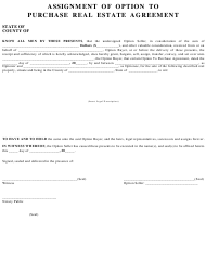 """Assignment of Option to Purchase Real Estate Agreement Template"""