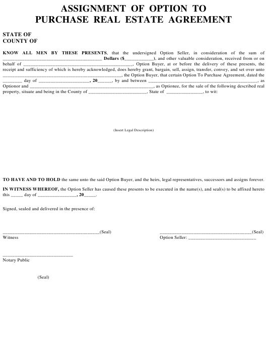 Assignment Of Option To Purchase Real Estate Agreement Template