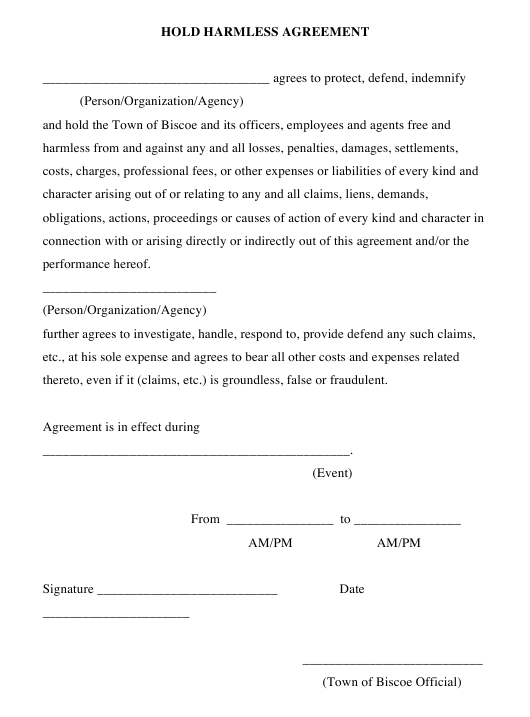 Hold Harmless Agreement Form Town Of Biscoe North