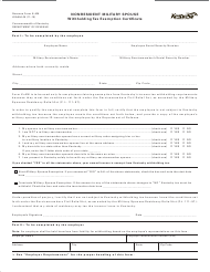 """Form K-4M """"Nonresident Military Spouse Withholding Tax Exemption Certificate"""" - Kentucky"""