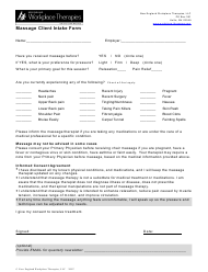 Massage Client Intake Form - New England Workplace Therapies