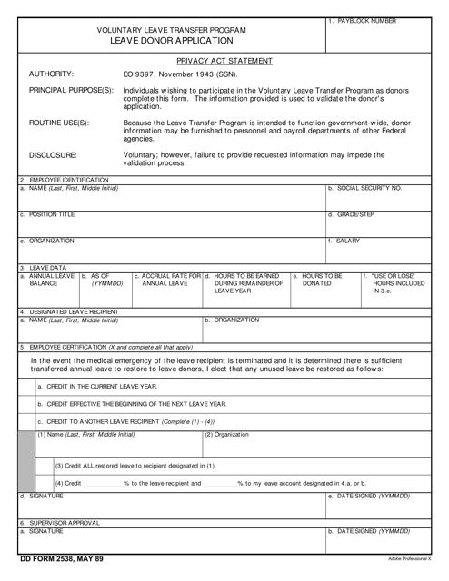 DD Form 2538 Fillable Pdf