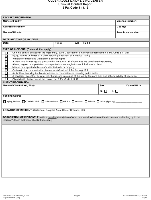 """Older Adult Daily Living Center Unusual Incident Report"" - Pennsylvania Download Pdf"