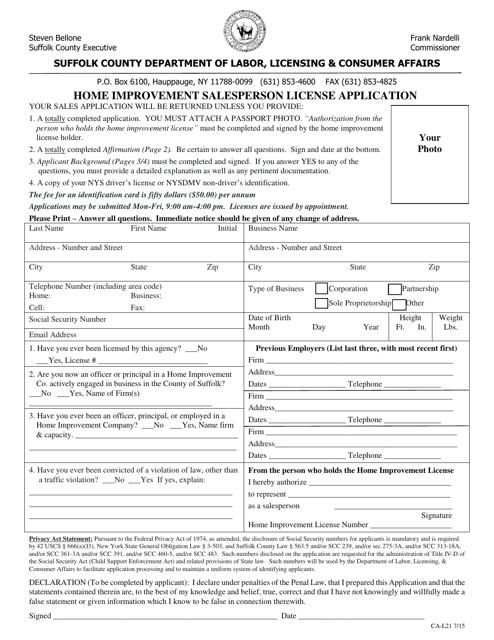 Form CA-L21  Printable Pdf