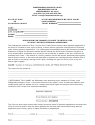 Application for Consent of Court to Enter a Plea of Guilty Without Personal Appearance - City of Independence, CUYAHOGA COUNTY, Ohio