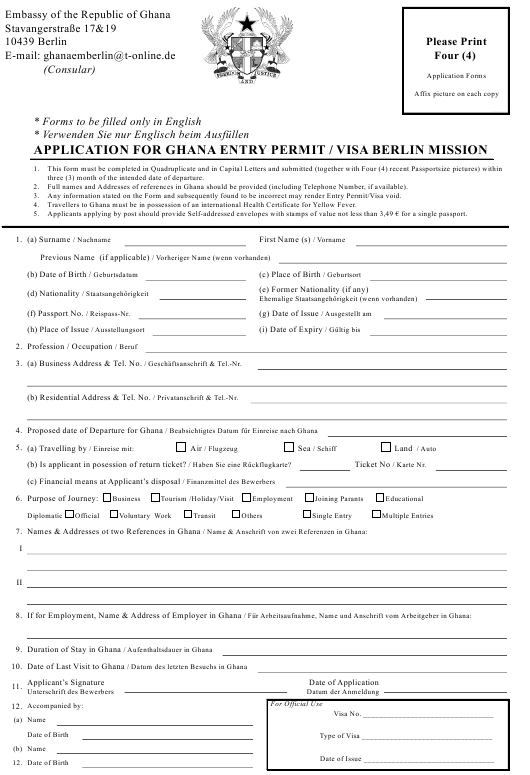 """""""Application for Ghana Entry Permit / Visa Berlin Mission - Embassy of the Republic of Ghana"""" - Berlin, Germany Download Pdf"""
