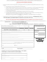 """Birth Record Application Form"" - Norwalk, California"
