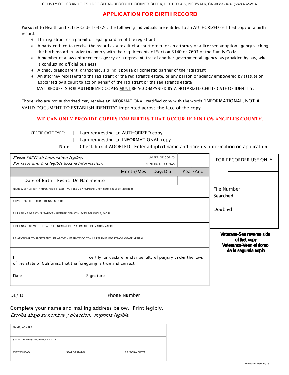 birth application form california record pdf printable norwalk templateroller
