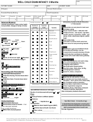 """Well Child Exam Template - Infancy 9 Month"" - Ohio"