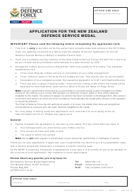 """Application Form for the New Zealand Defence Service Medal"" - New Zealand"