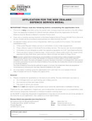 Application Form for the New Zealand Defence Service Medal