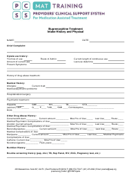 """""""Buprenorphine Treatment Intake History and Physical Form - Pcss"""""""
