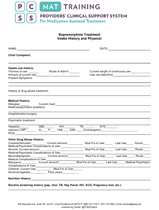 """""""Buprenorphine Treatment Intake History and Physical Form - Pcss"""" Download Pdf"""