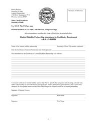 """Limited Liability Partnership Amendment to Certificate; Restatement Form"" - Arizona"