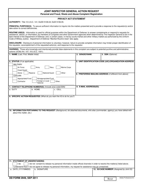 DD Form 2949 Fillable Pdf