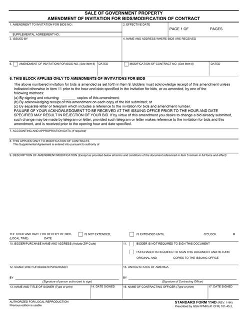 Form SF-114D  Printable Pdf