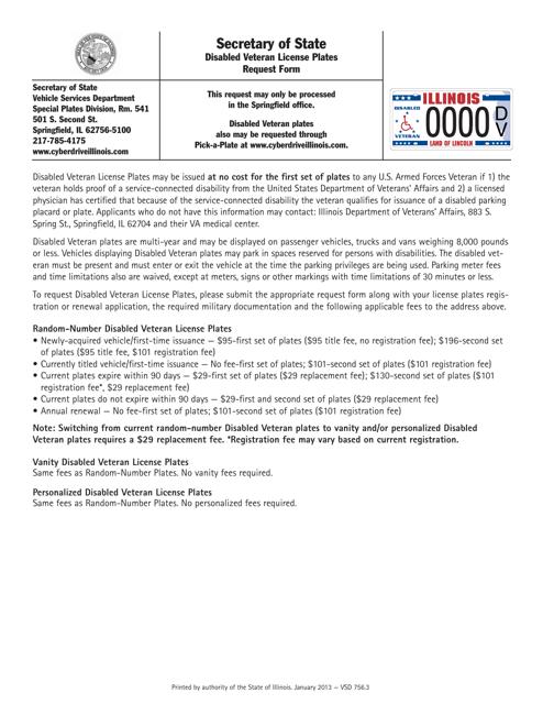 Disabled Veteran License Plates Request Form - Illinois Download Pdf