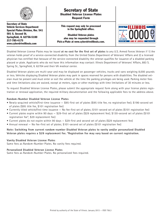 Disabled Veteran License Plates Request Form - Illinois Download Pdf