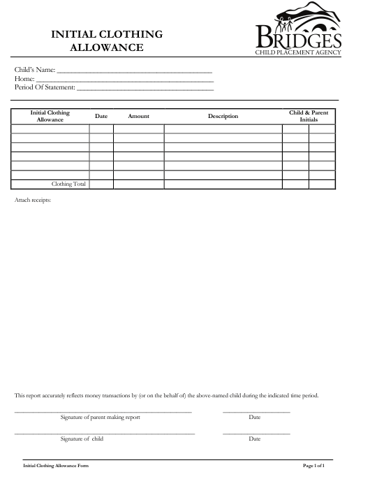 Initial Clothing Allowance Form - Bridges Child Placement Agency Download Pdf