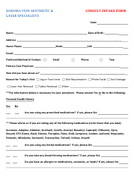 """""""Laser Therapy Intake Form - Sonoma Vein Aesthetic & Laser Specialists"""""""