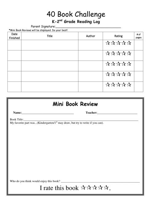 """K-2nd Grade Reading Log Template - 40 Book Challenge"" Download Pdf"