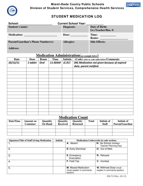 """Student Medication Log - Miami-Date County Public Schools"" - Miami-Date County, Florida Download Pdf"