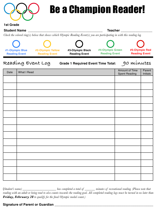"""1st Grade Reading Olympics Event Log Template"" Download Pdf"