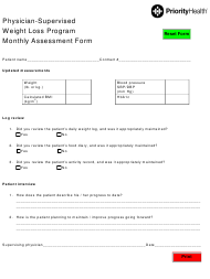 """""""Physician-Supervised Weight Loss Program Monthly Assessment Form - Priorityhealth"""""""