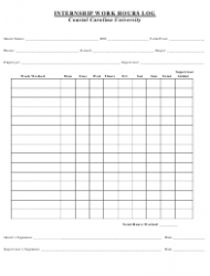 Internship Work Hours Log Template