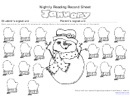 January Nightly Reading Record Sheet Template