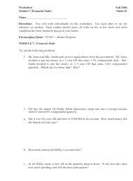 Financial Math Worksheet