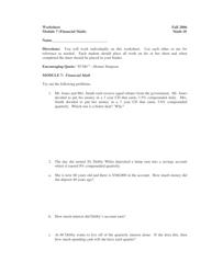 Financial Math Worksheet