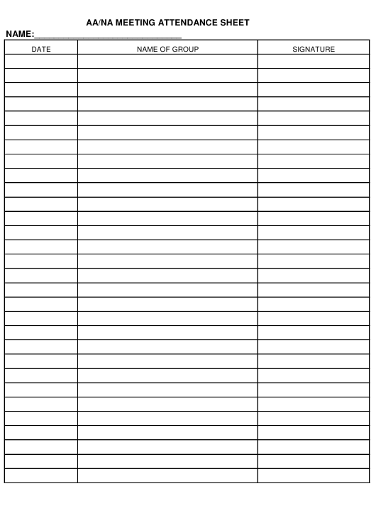 Aa Na Meeting Attendance Sheet Template Download Printable
