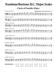 """Trombone/Baritone B.c. Major Scale Chart"""