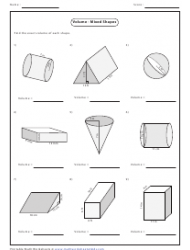 Volume - Mixed Shapes Worksheet With Answers