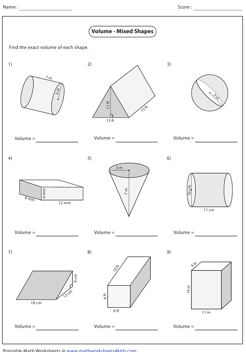 Volume - Mixed Shapes Worksheet With Answers Download ...