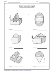 Volume - Compound Shapes Worksheet With Answers