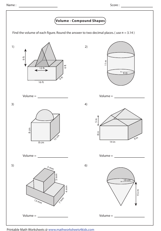 Volume Compound Shapes Worksheet With Answers Download Printable
