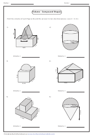"""Volume - Compound Shapes Worksheet With Answers"""