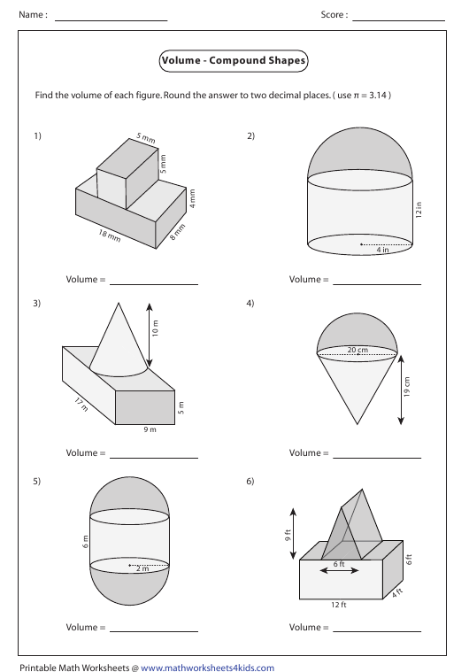 volume compound shapes worksheet with answers download. Black Bedroom Furniture Sets. Home Design Ideas