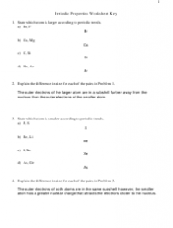 Periodic Properties Worksheet With Answers Key