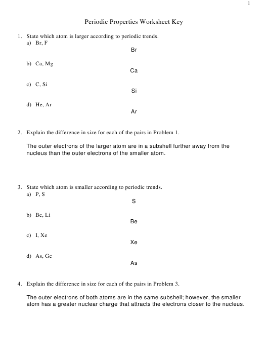 """""""Periodic Properties Worksheet With Answers Key"""" Download Pdf"""