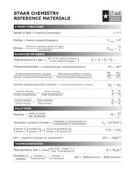Staar Chemistry Cheat Sheet